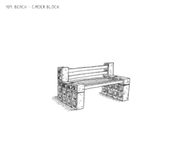 Bench – Cinder Block + Wood